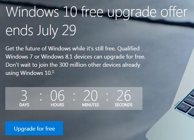 Hạn cuối cho việc cập nhật miễn phí lên Windows 10 là 29/07/2016